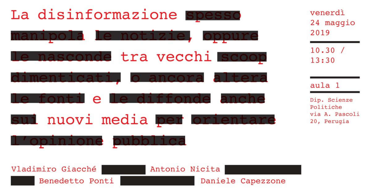 Disinformazione tra vecchi e nuovi media - locandina evento