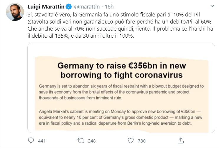 tweet del deputato PD Marattin sul debito pubblico Germania