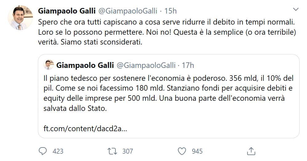 Tweet del deputato PD Gianpaolo Galli sul debito pubblico